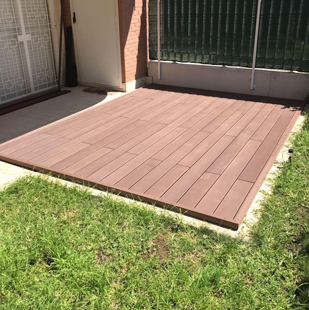 Pedana Di Legno Per Giardino kit completo terrazza wpc 20mq pronto posa 4x5